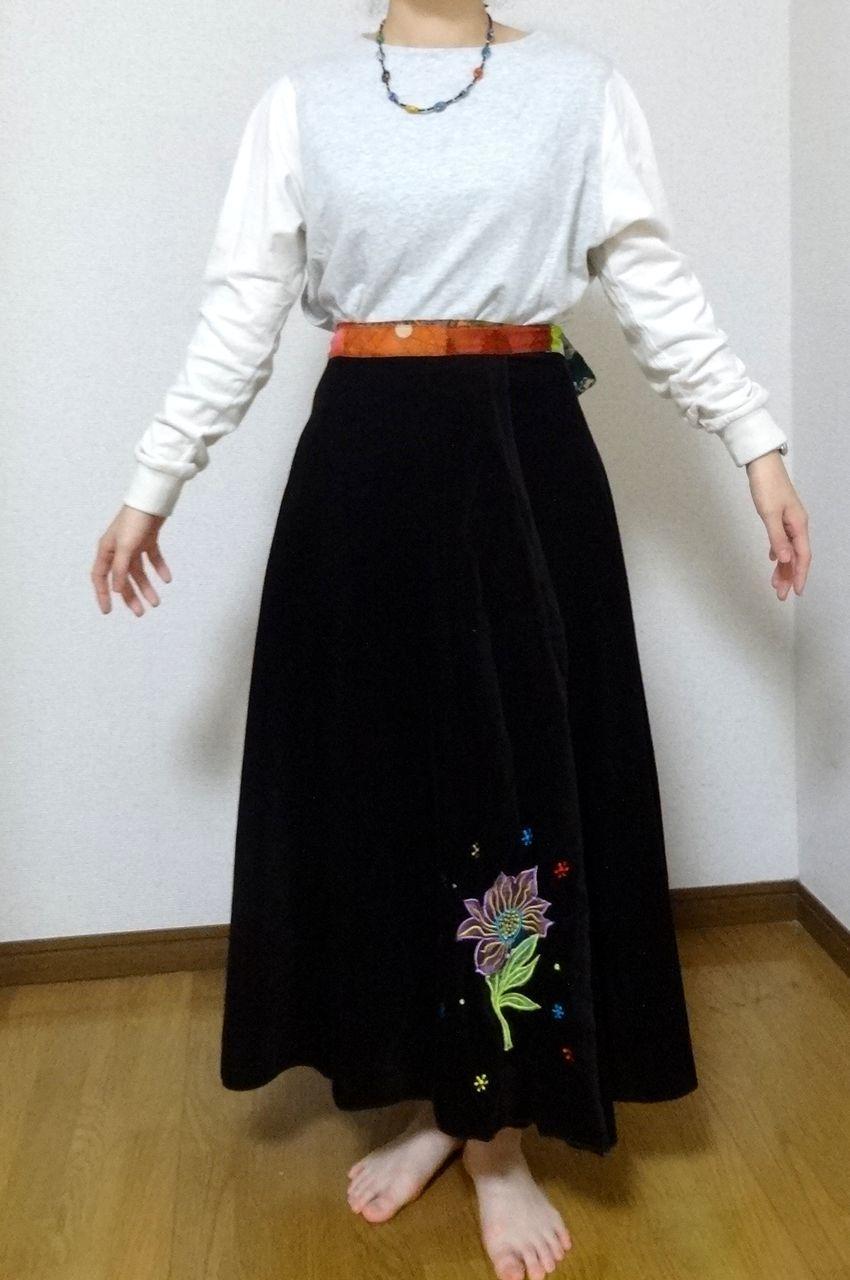 EMS-019BR ベルベット刺繍×シルク巻きスカート 茶色