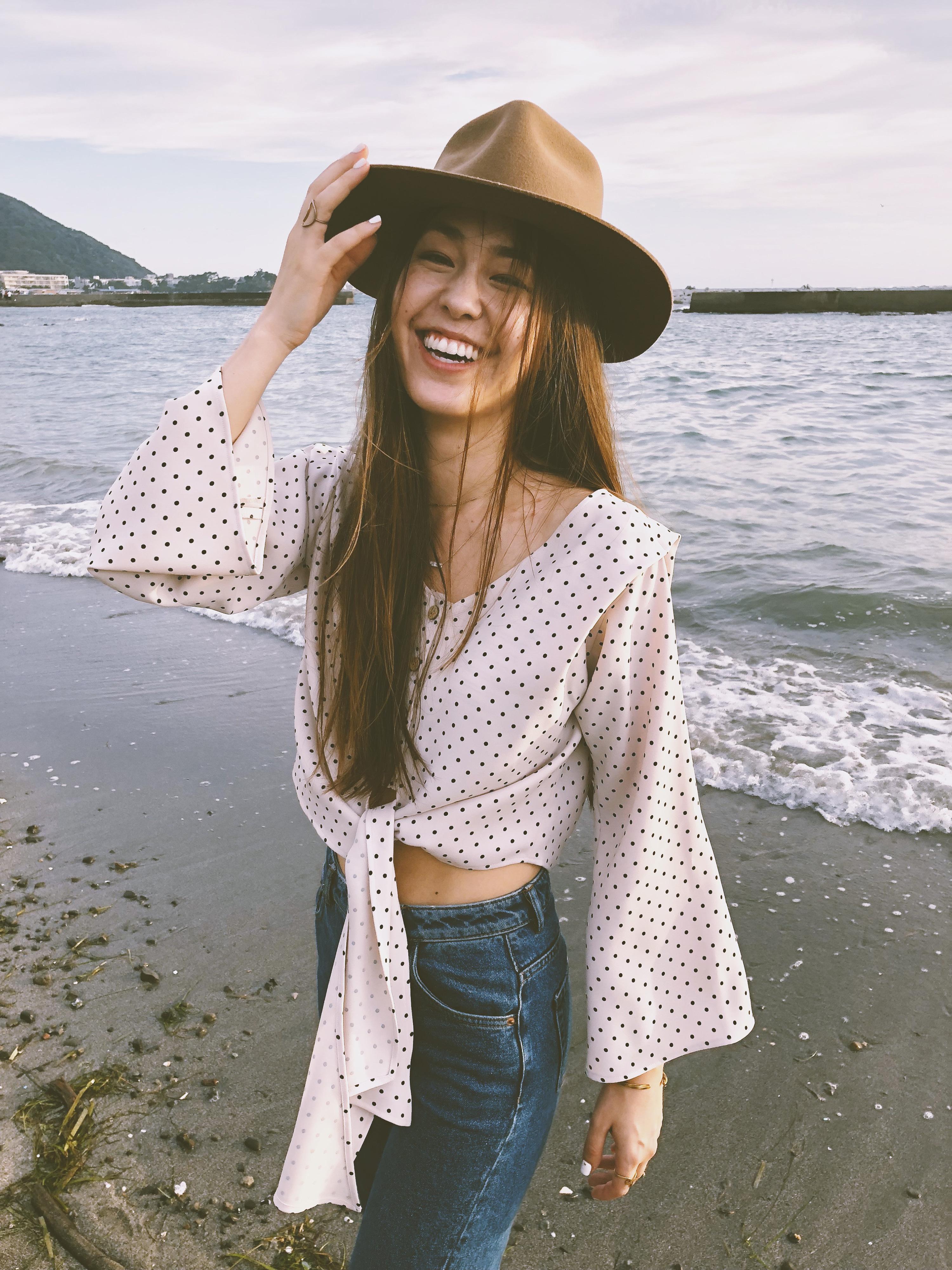 sunnyslope dr polka dot blouse pink ravissant cali ラヴィサントカリ