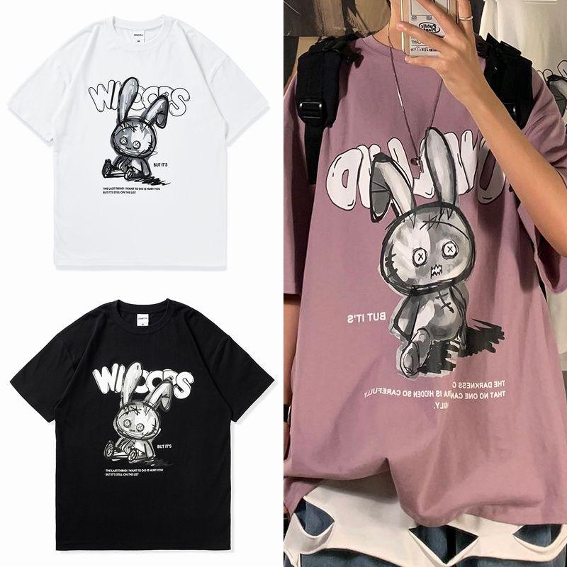 ユニセックス Tシャツ 半袖 メンズ レディース ラウンドネック 落書き風 うさぎ ラビット プリント オーバーサイズ 大きいサイズ ルーズ ストリート