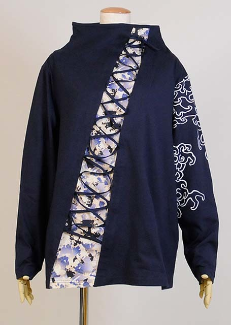 gouk侍 和柄切り替えを編み上げしてある長袖のトップス GGD27-T806 NV/MM