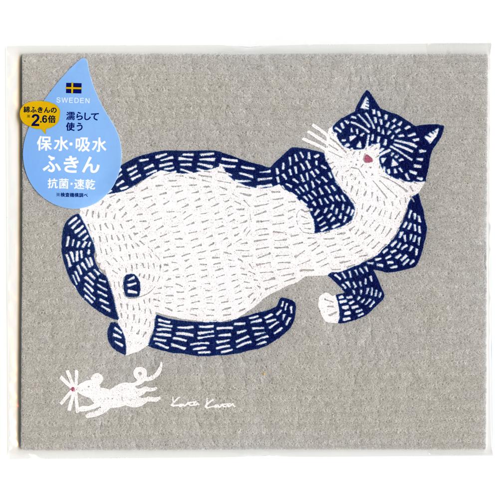 猫スポンジワイプふきん(ネコとネズミ)