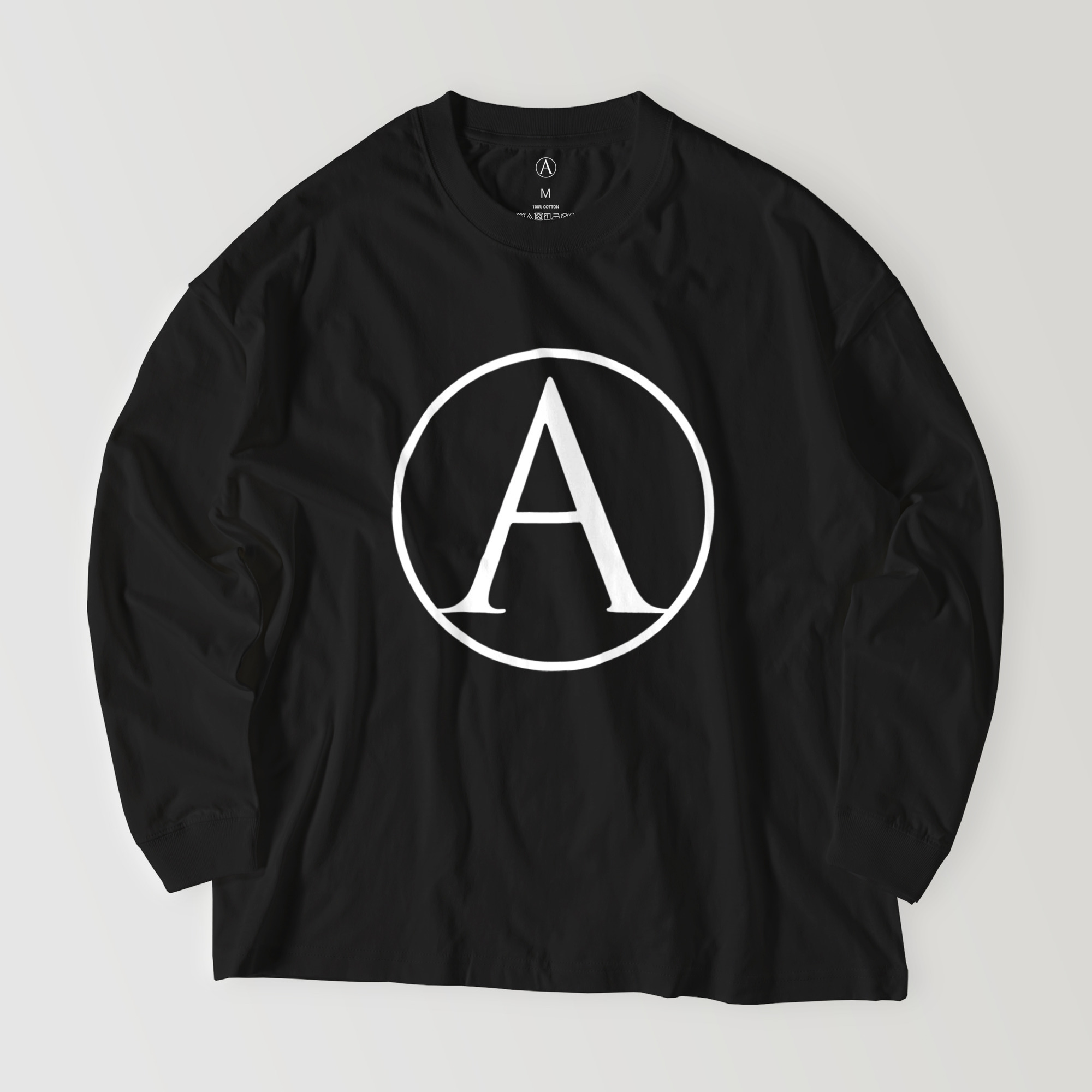 A ビッグシルエットロングシャツ ブラック(白抜き) / Mens