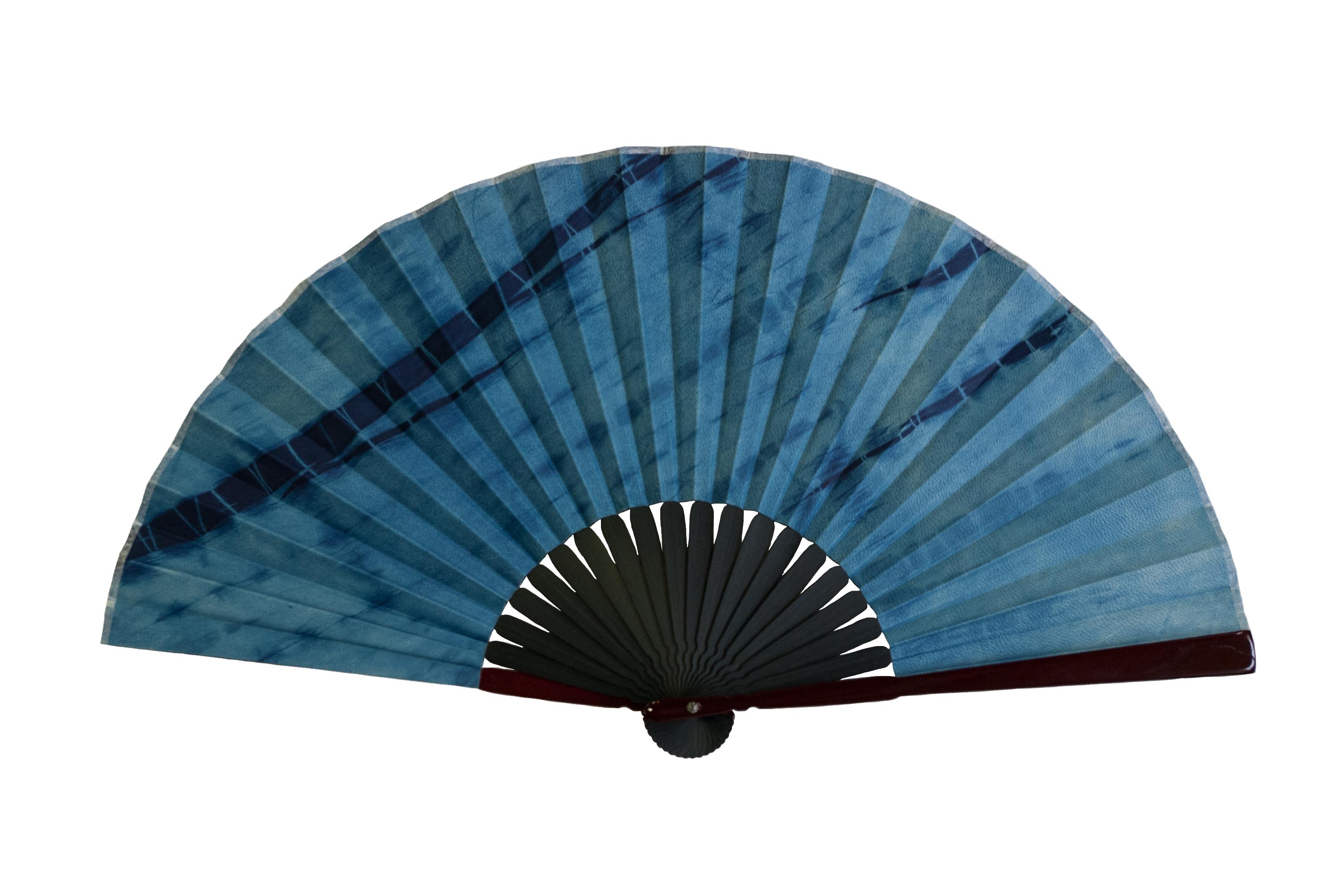 武州壺藍染鹿革製京扇子