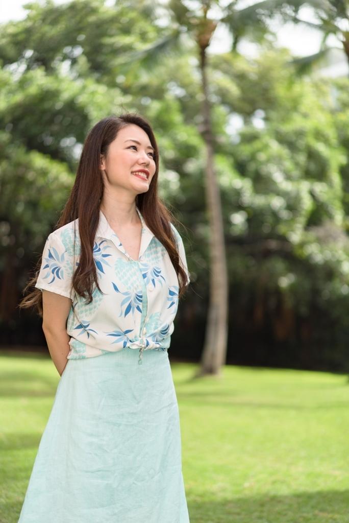 【LeaLea×Kona Bay Hawaii】レディスアロハシャツ(ホワイト)