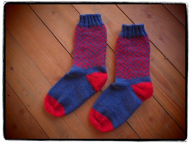 手編みの靴下・ネイビー×レッド