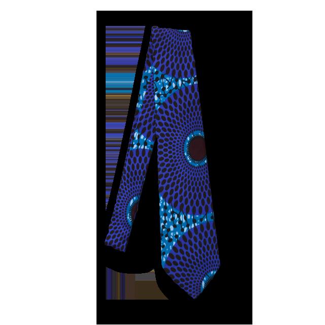 アフリカ柄ネクタイ(Necktie 青)
