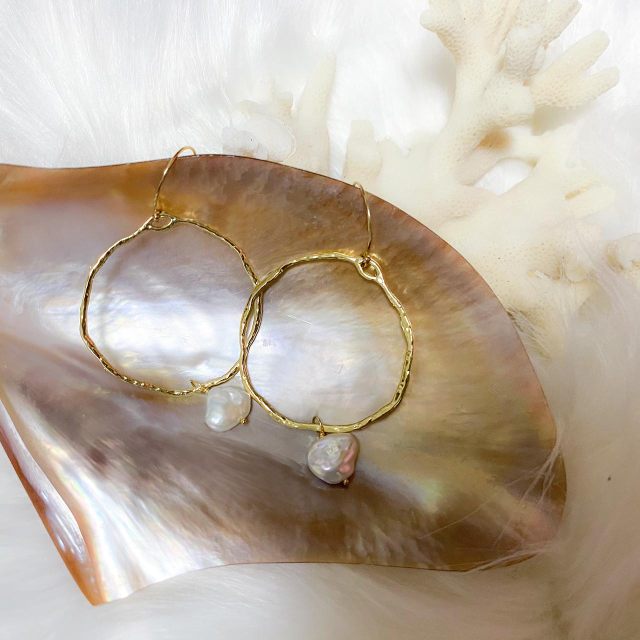 Gold Hoop Pearl Pierce