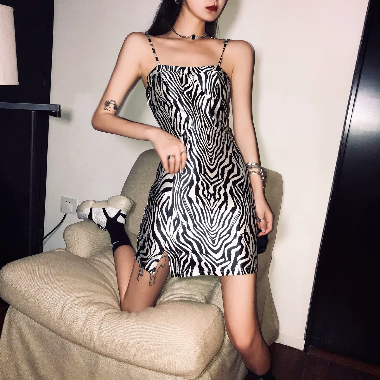 zebra pattern camisole dress