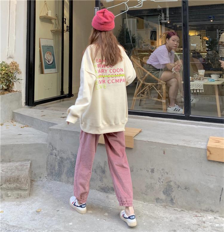 【送料無料】 おしゃれカジュアル♡ バック ロゴ プルオーバー トップス × コーディロイ パンツ セットアップ