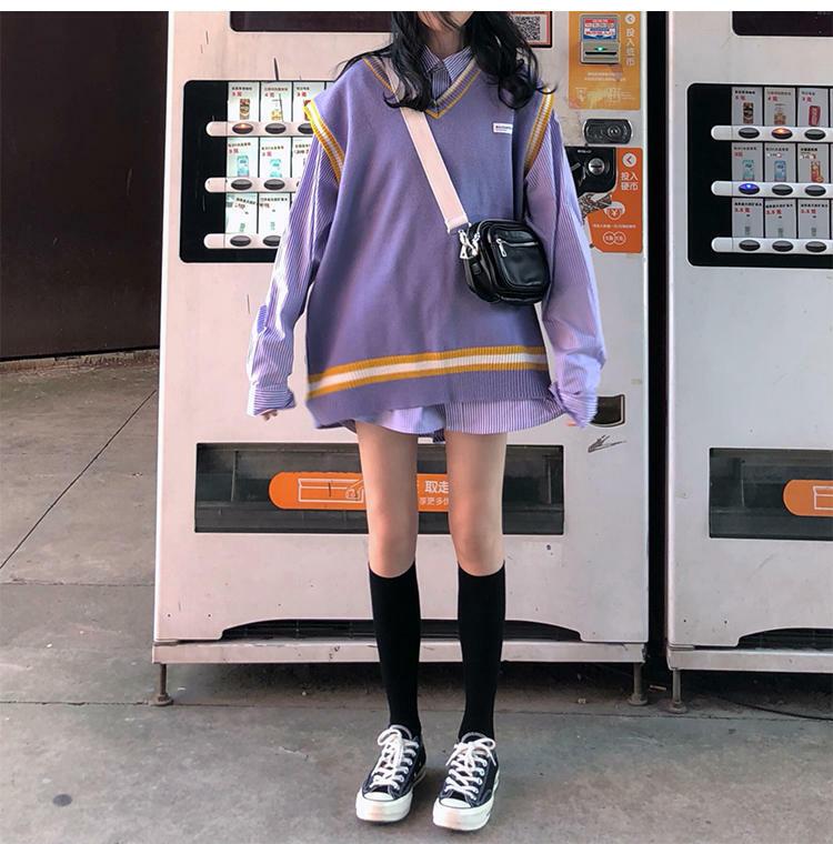 【送料無料】アメリカンスクールガール ♡ 2点セット セットアップ オーバーサイズ  ベスト × ストライプ柄 シャツ