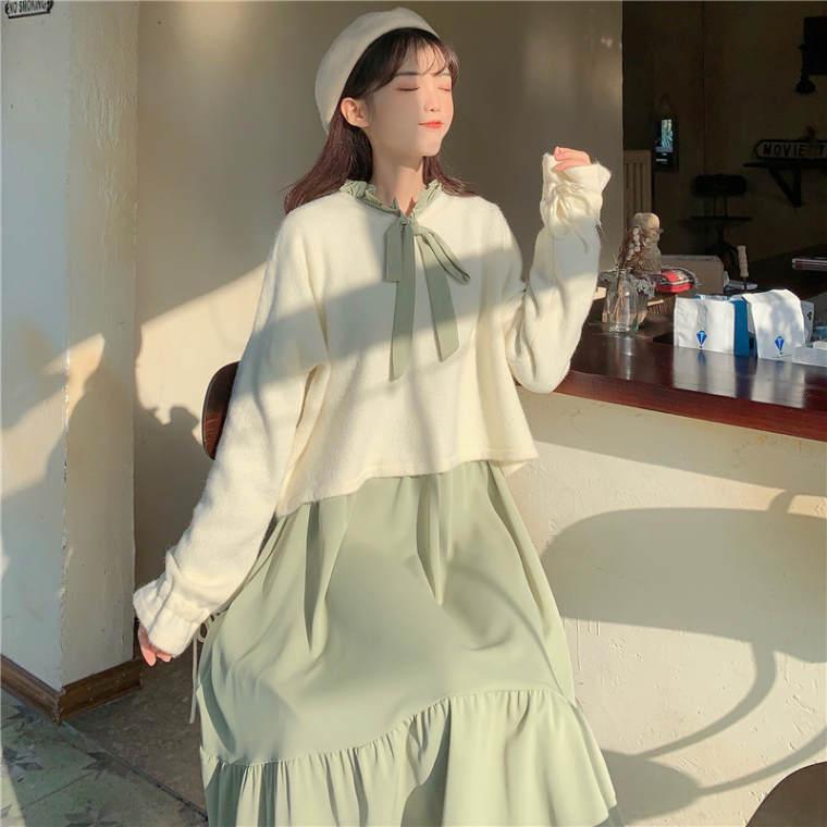 【送料無料】 ナチュかわコーデ♡ フリルネック ボウタイ ロングワンピース × ショート丈 ニット セットアップ