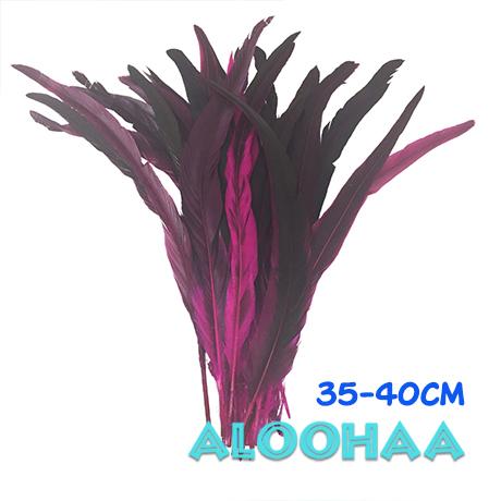 ロングフェザー 【ピンク】35-40cm タヒチアン 衣装 材料 ルースターテール 染め 羽根