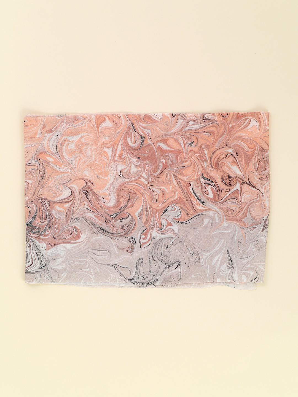 墨流し帯揚げ/マーブル/とき色×浪花鼠