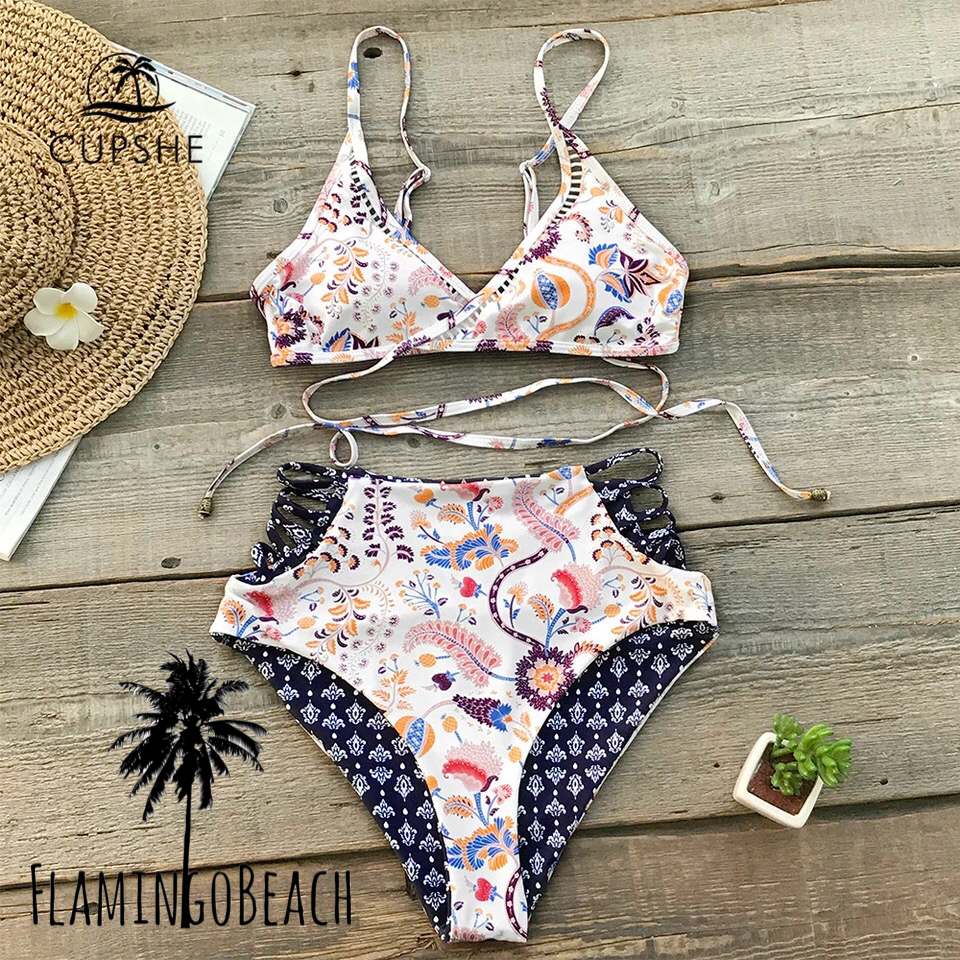 【FlamingoBeach】reversible boho high west bikini ハイウェスト ビキニ