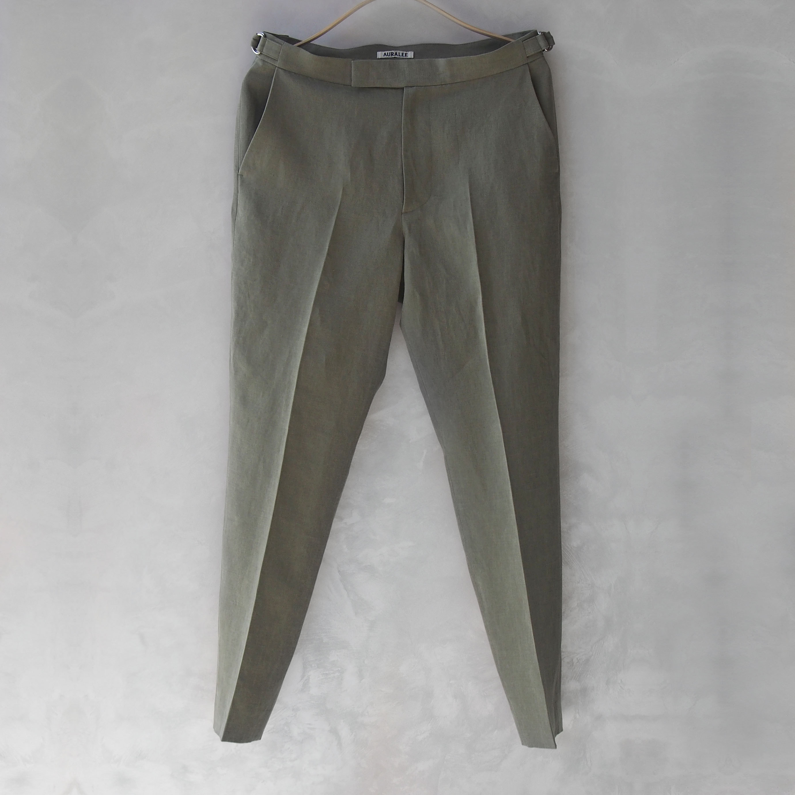 AURALEE WASHED LINEN SLACKS OLIVE GREEN