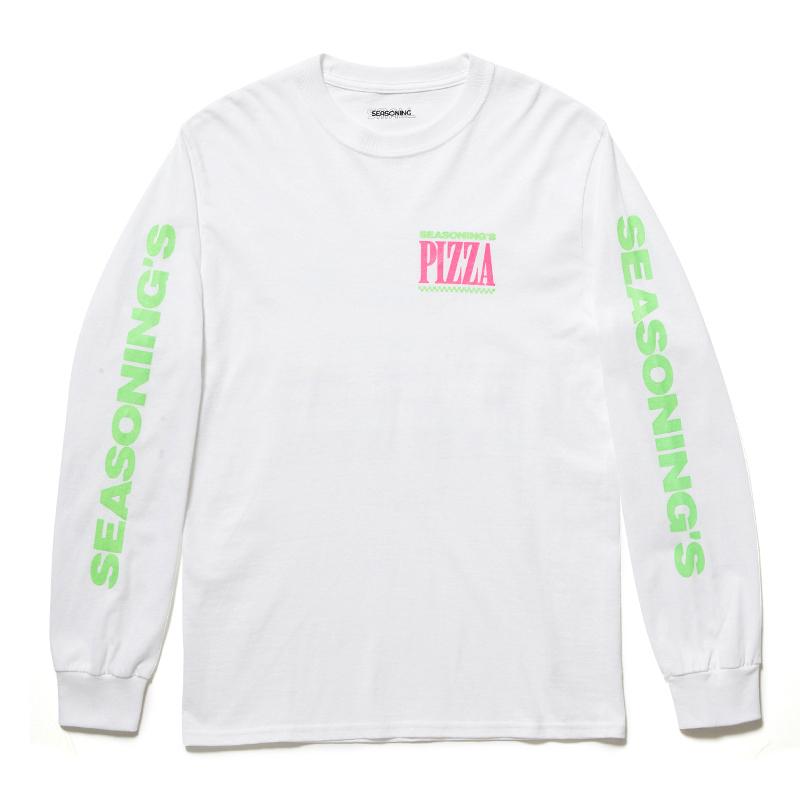 "SEASONING × GIONO L/S TEE ""PIZZA"" - WHITE"