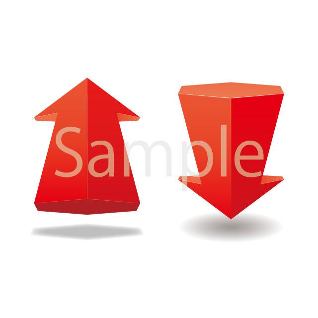 赤い立体の矢印イラスト素材 名刺印刷通販イラスト素材nbs