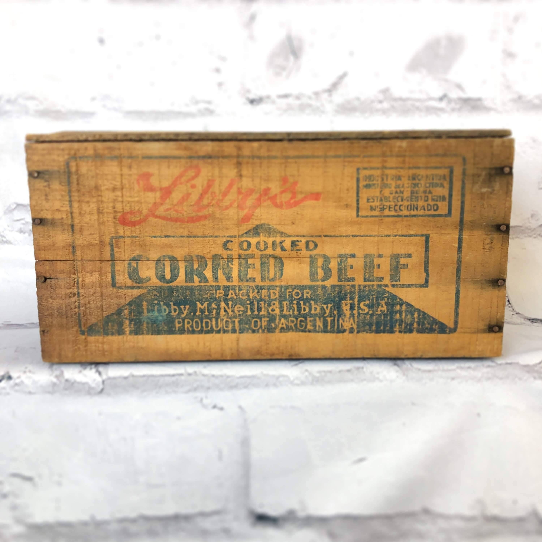 品番0549 木箱 ウッドボックス CORNED BEEF コンビーフBOX インテリア ディスプレイ ヴィンテージ
