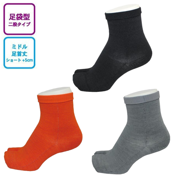 INNER-FACT インナーファクト 足袋型ソックス ミドル丈(足首丈) ブラック/ダークオレンジ/ライトグレー