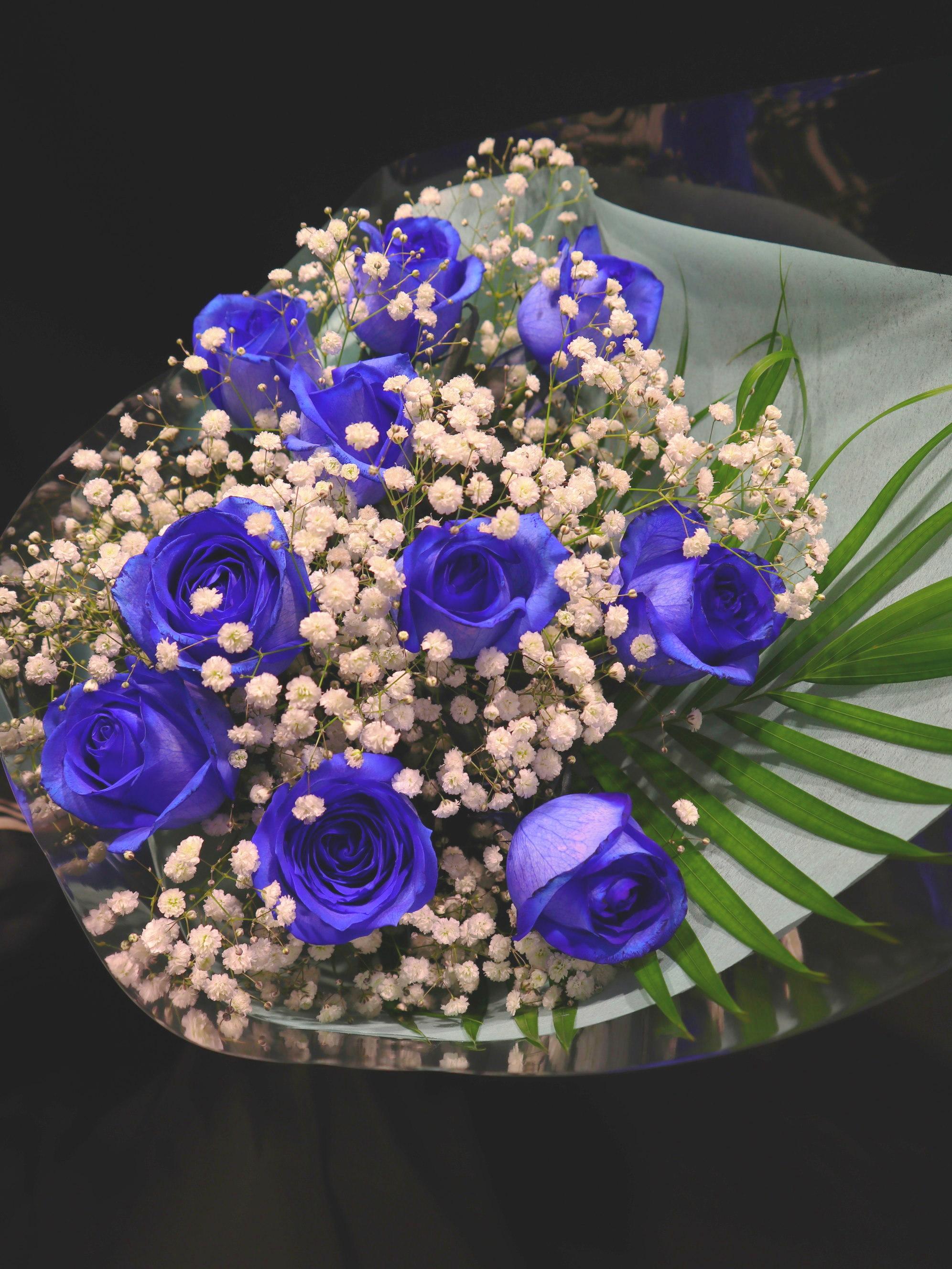 bu020 花束 青バラ+カスミソウ