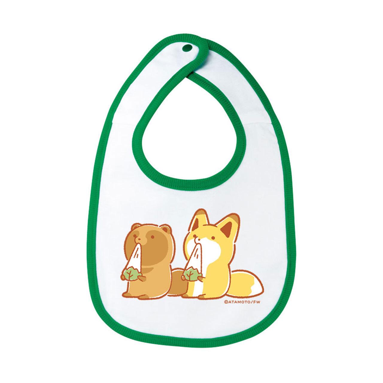 【4589839352901再】タヌキとキツネ よだれかけ(緑)