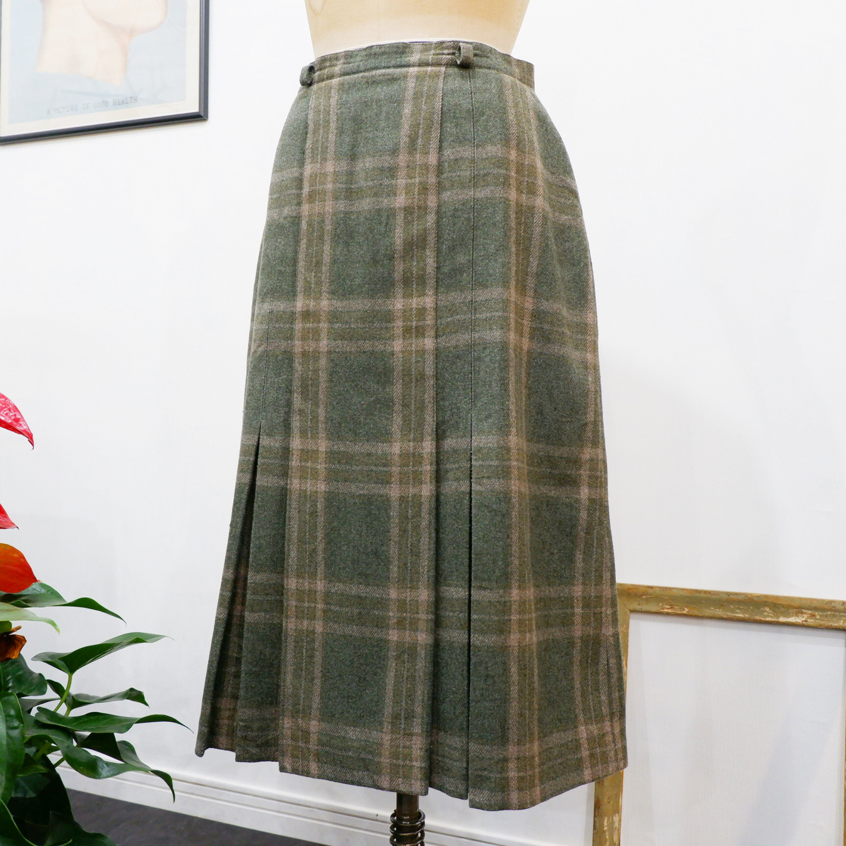 アメリカ古着 France製 チェック ウールスカート グリーン