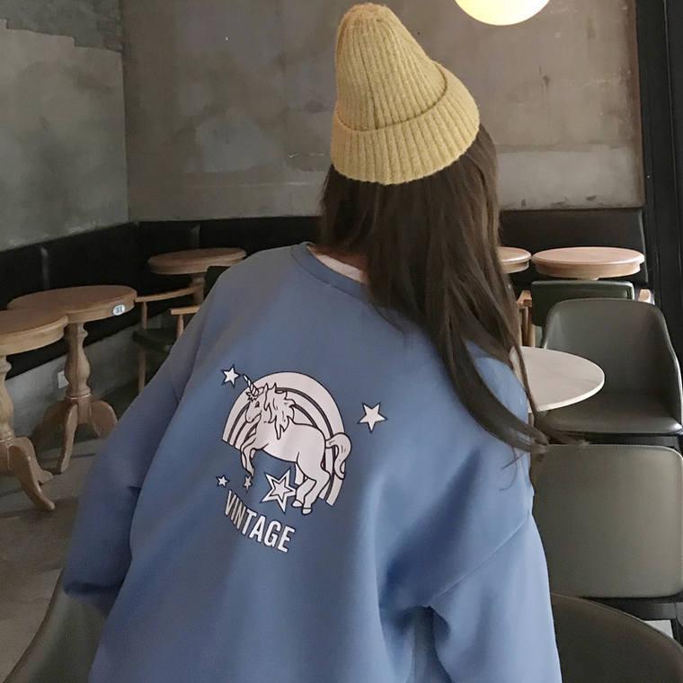 【送料無料】 ゆめかわユニコーン♡ バックプリント ロゴ プルオーバー オーバーサイズ トップス