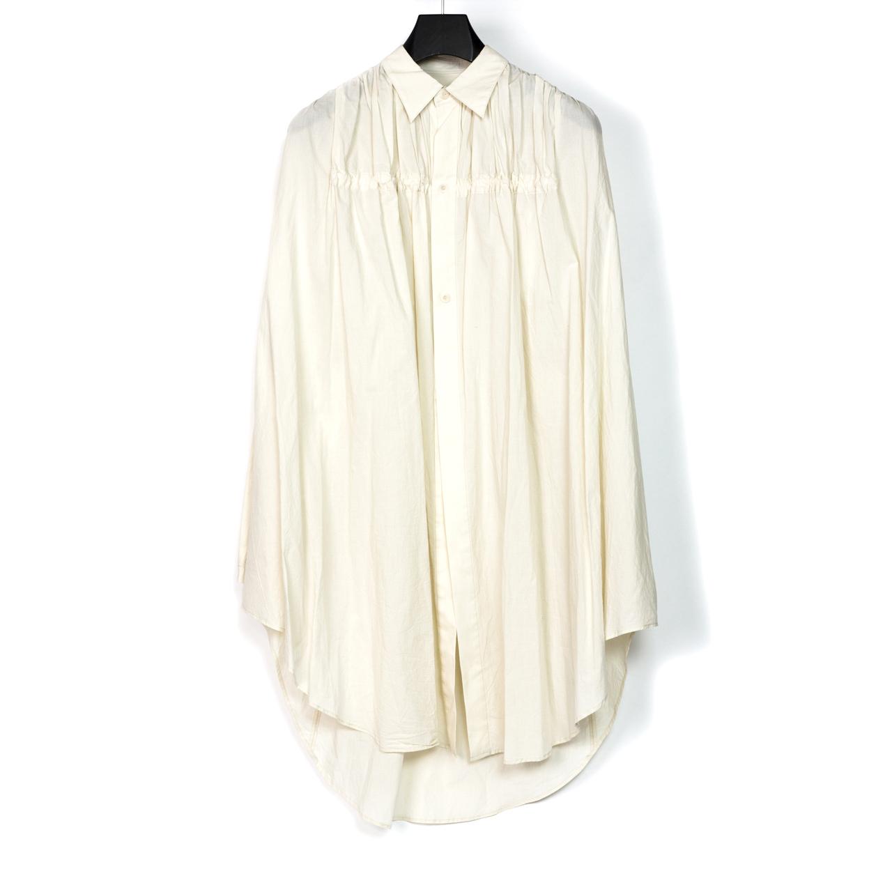697SHM3-RAW / フロントギャザーロングシャツ