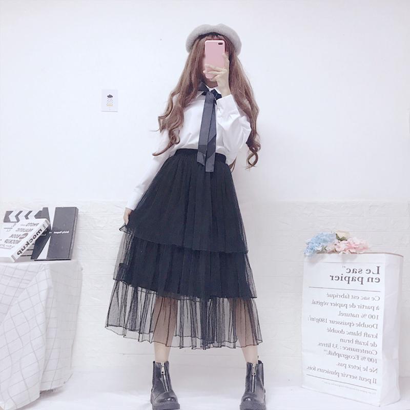【set】[単品注文]無地カジュアルシャツ+スカートセットアップ19220595