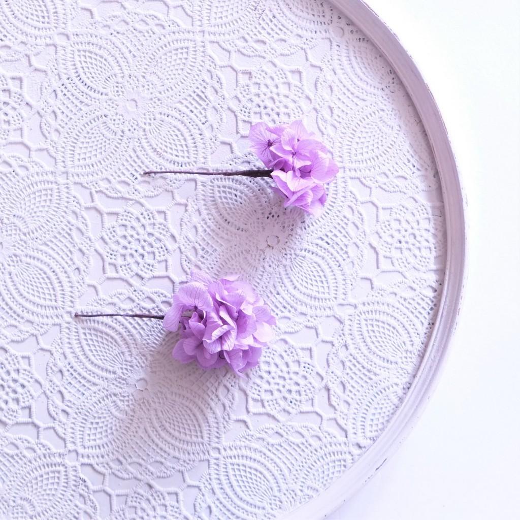〖 パープル・ソフトアジサイのヘッドドレスパーツ2本 〗お好きなプリザ花材をカスタムメイドでお作り致します
