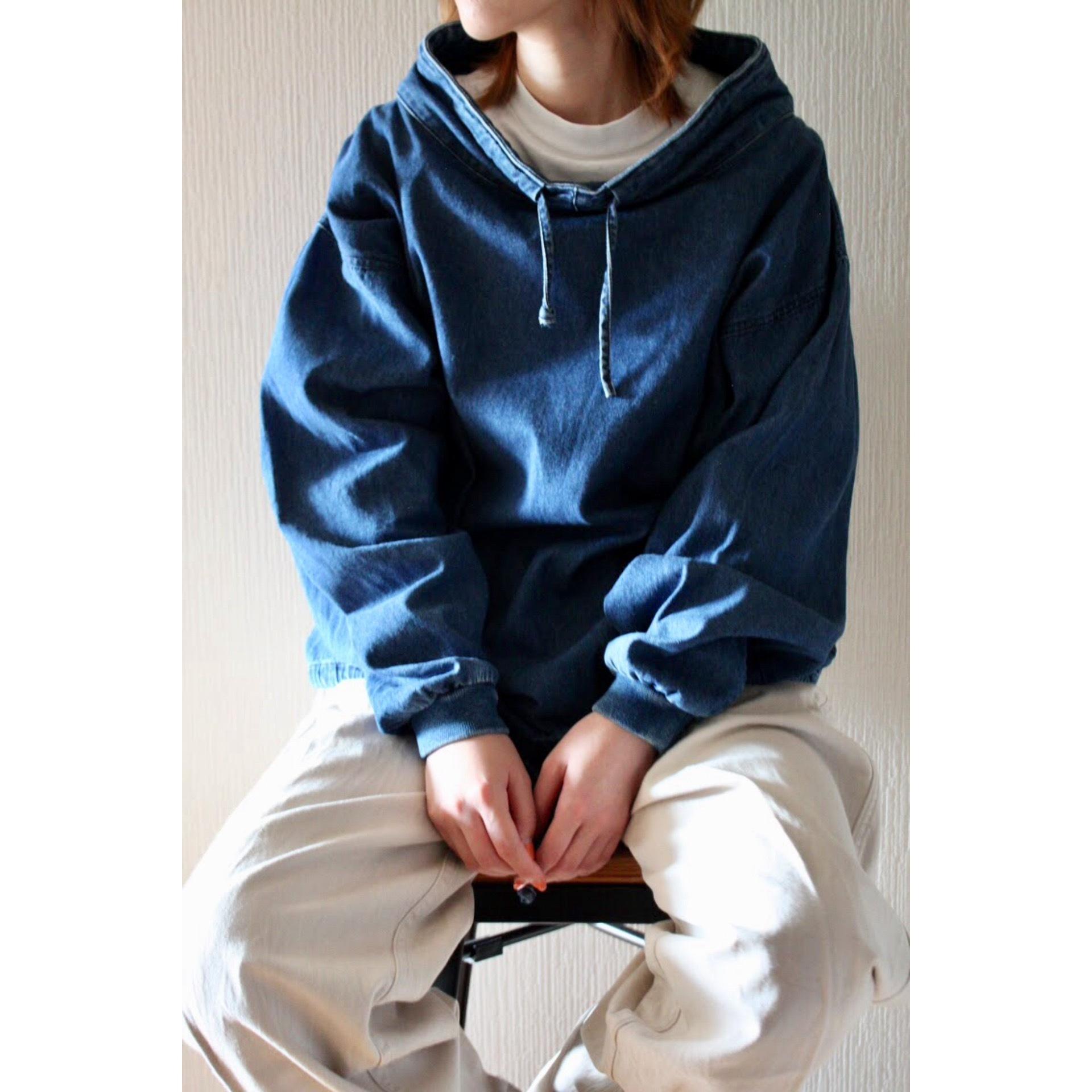 Vintage denim mock neck jacket