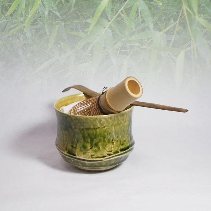 竹をモチーフにした「小服お抹茶碗」 k4 卓上を意識しお抹茶を気軽に楽しむ!