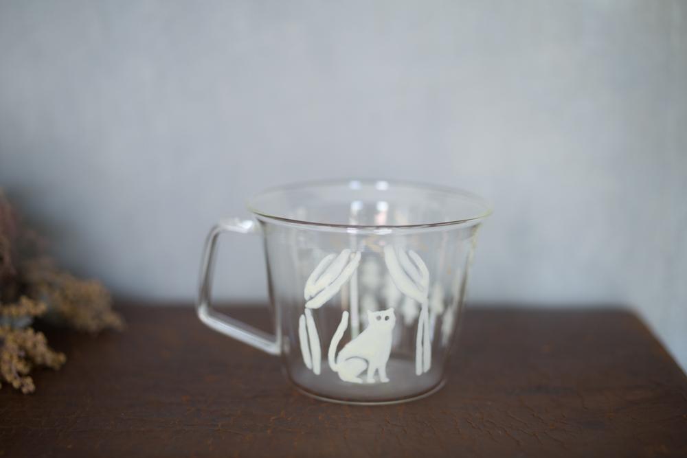 大家三佳 ガラスの器 「窓辺のねこ(コーヒーカップ 220ml)」 【om_0010】