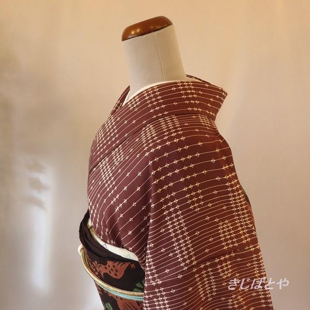 正絹紬 ミルクチョコ色の総柄小紋 袷