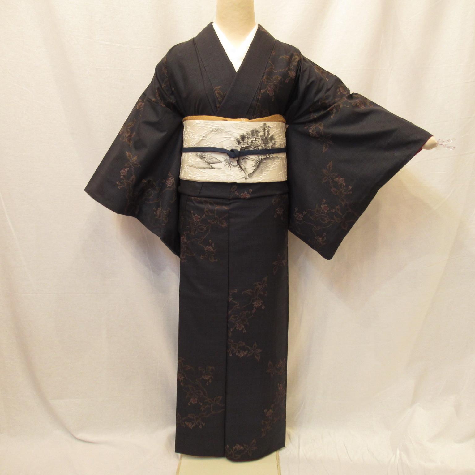 大島紬1292と膨れ織洒落袋帯4点セット