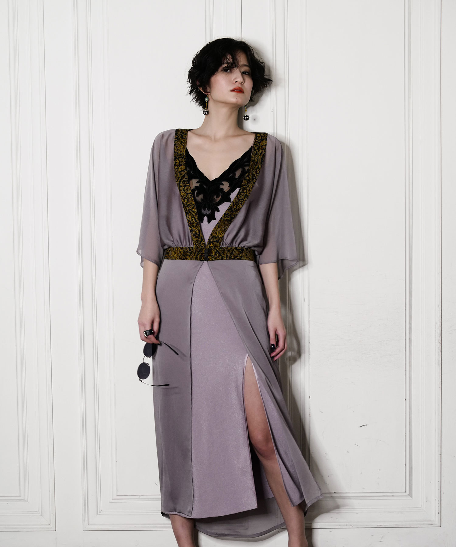 df17SM-IR02 DISIGN BELT GOWN (purple)