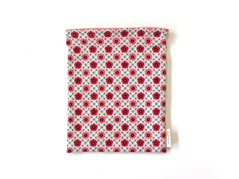 ハリネズミ用寝袋 M(夏用) 綿麻リップル×スムースニット 花小紋 ピンク