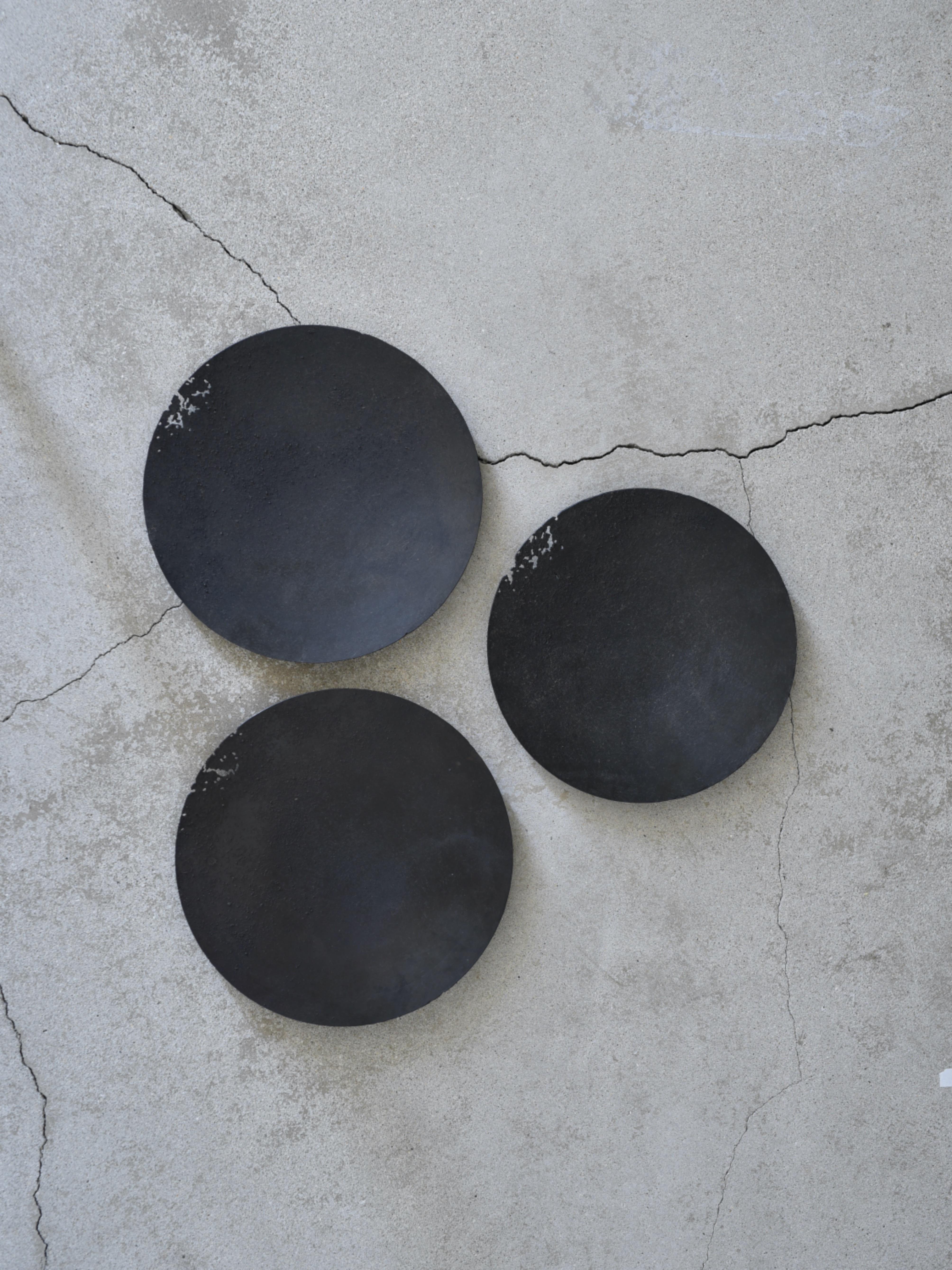 大山求 黒錆虫食い皿L