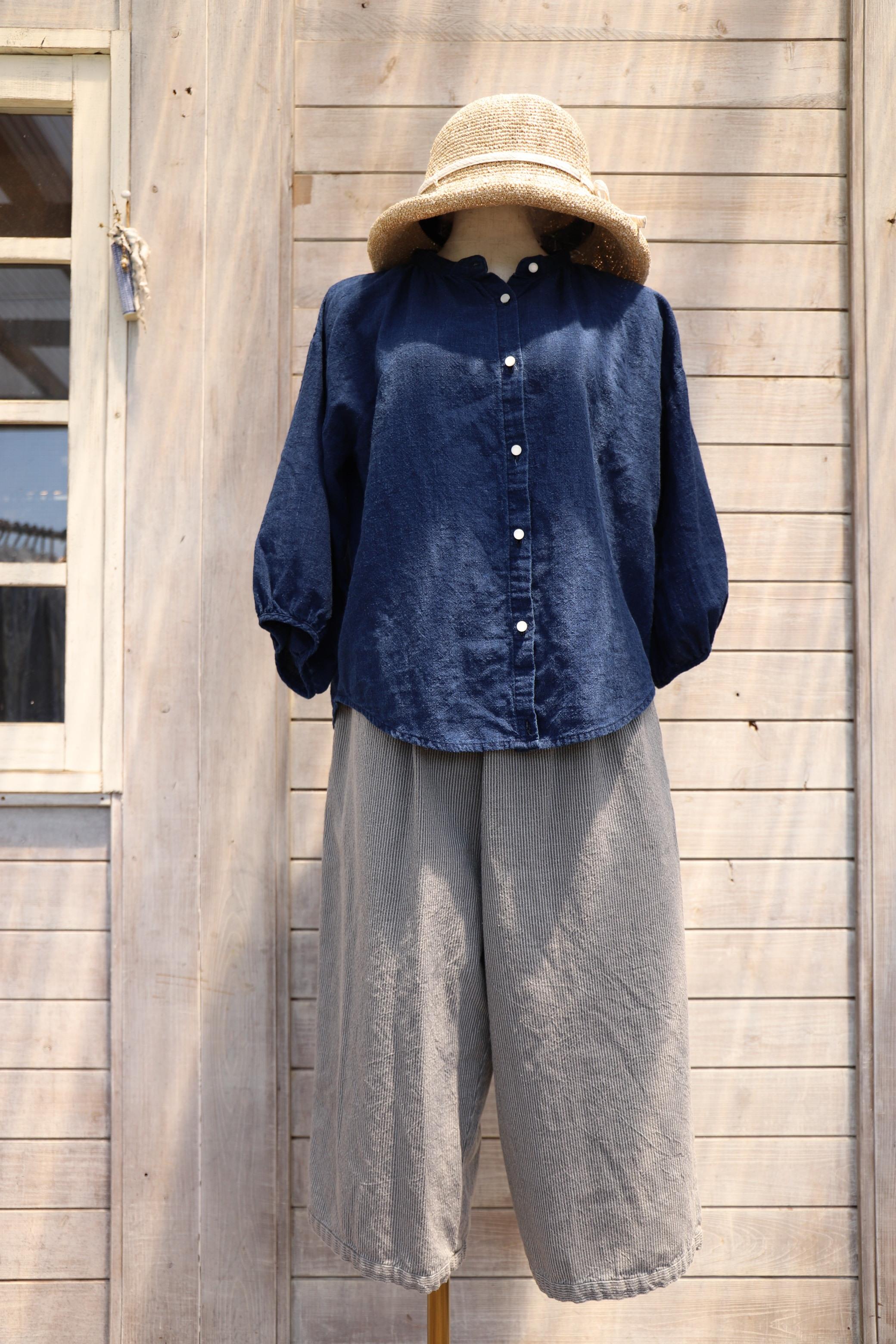 ふんわり袖ブラウス BLK14 藍染濃紺無地(K1)