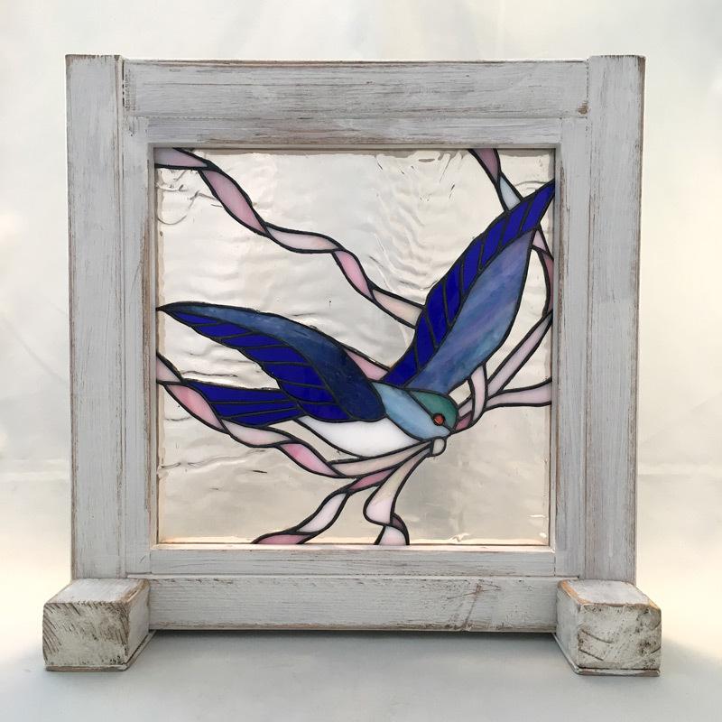 YY017 木枠に入ったパネル Bird