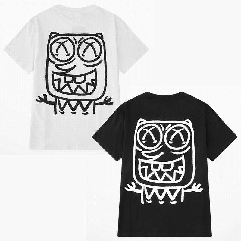 ユニセックス 半袖 Tシャツ メンズ レディース 英字 モンスター プリント オーバーサイズ 大きいサイズ ルーズ ストリート