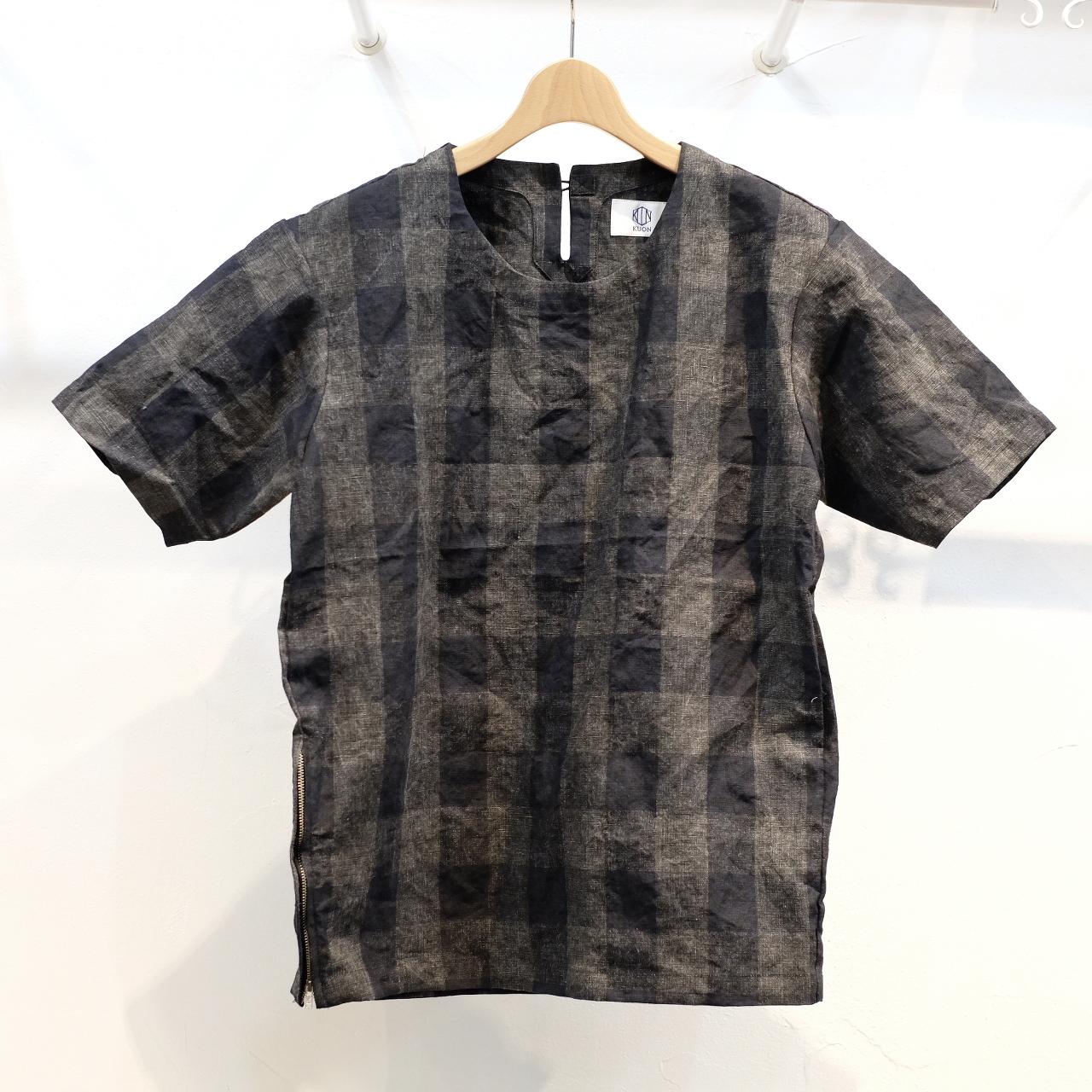 KUON(クオン) 麻・墨染チェック 半袖プルオーバーシャツ(カットソー)