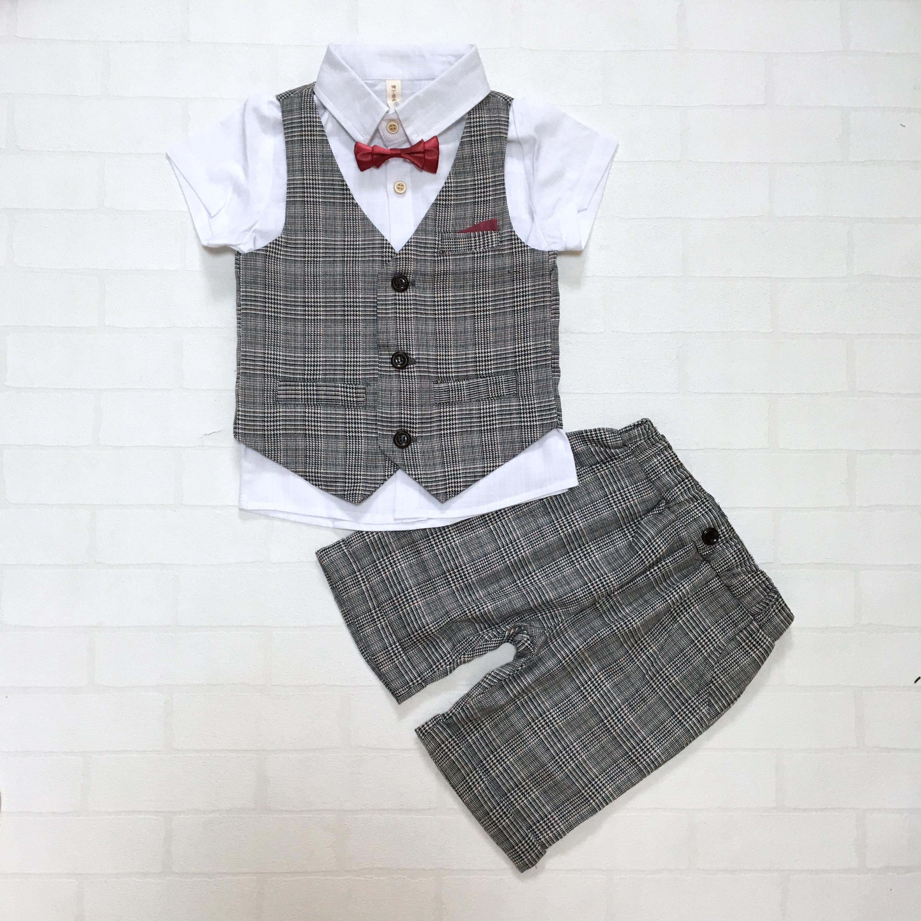 ホワイトシャツ×グレンチェックサマーフォーマルベスト4点セット【173】