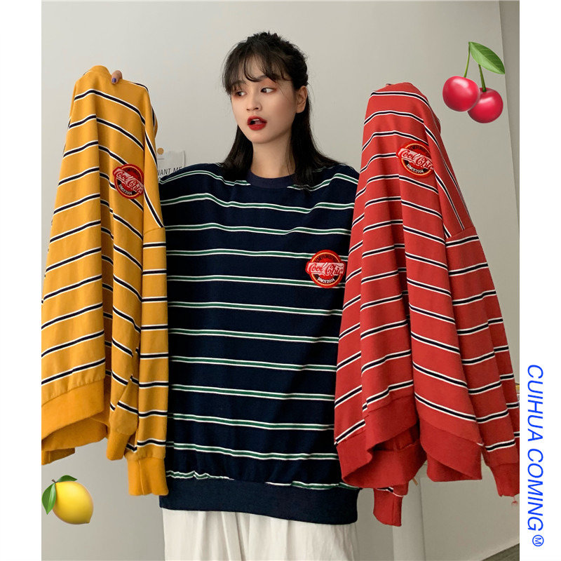 【tops】ストライプ柄配色カジュアルTシャツ23328836