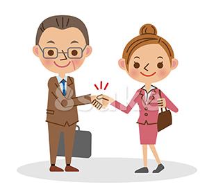 イラスト素材:握手をするビジネスマン/中年男性と若い女性(ベクター・JPG)
