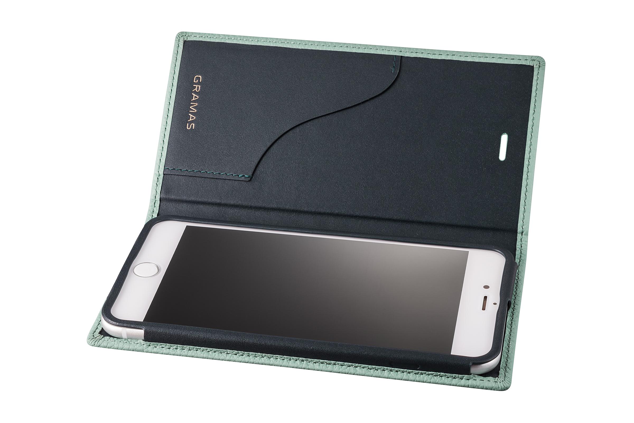 GRAMAS Shrunken-calf Full Leather Case for iPhone 7 Plus(Blue) シュランケンカーフ 手帳型フルレザーケース - 画像3