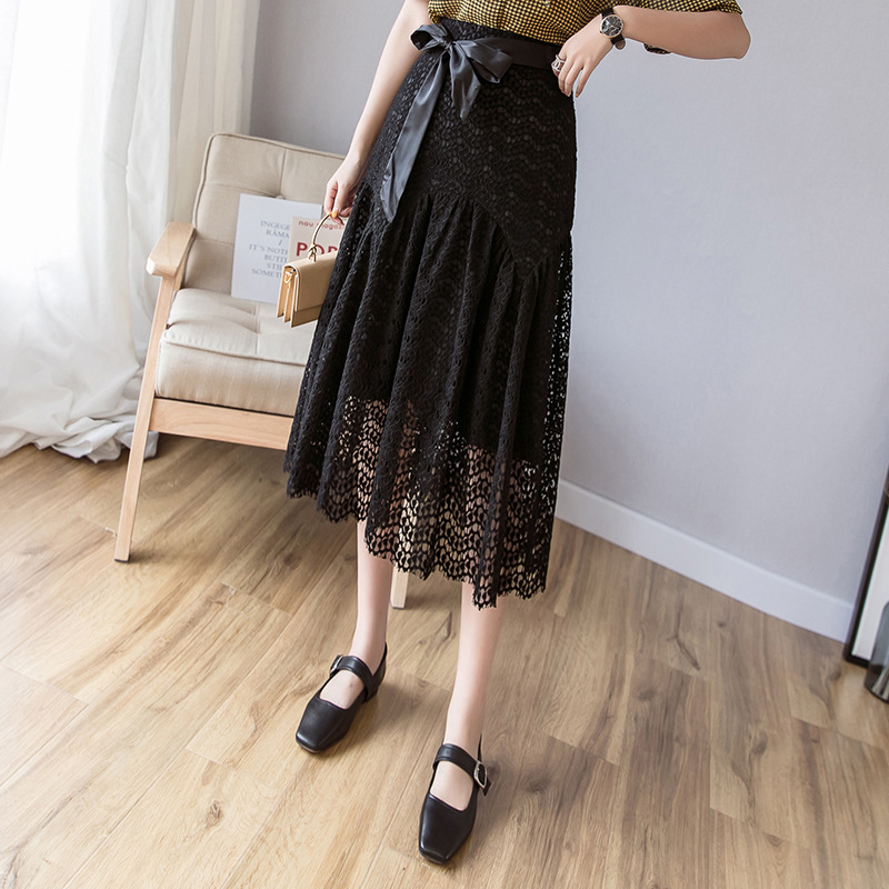 【ボトムス】無地文芸風リボン飾りベルト付きすね丈スカート17501434