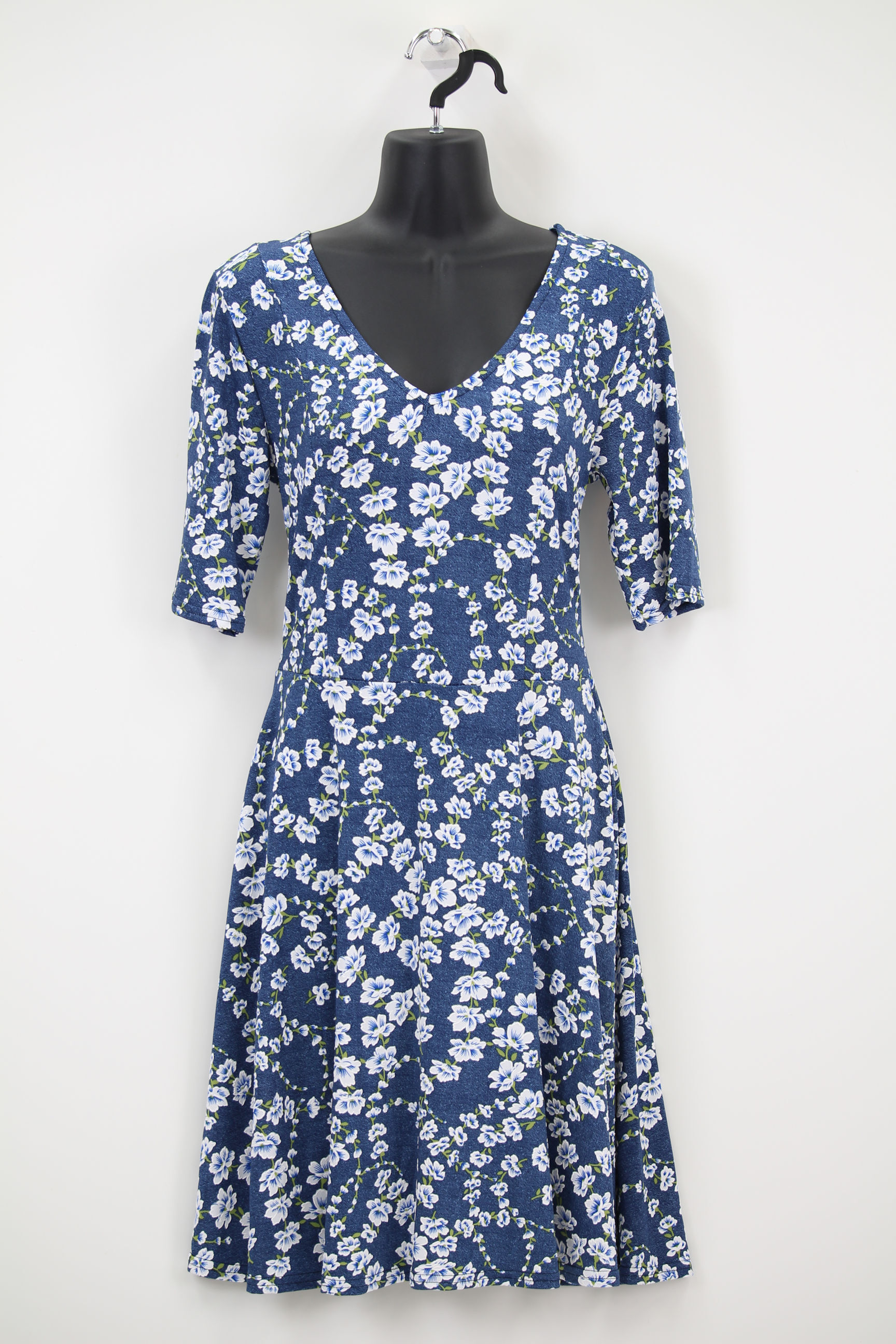 ブルー×白小花柄・バッグ編み上げリボンVネックワンピース