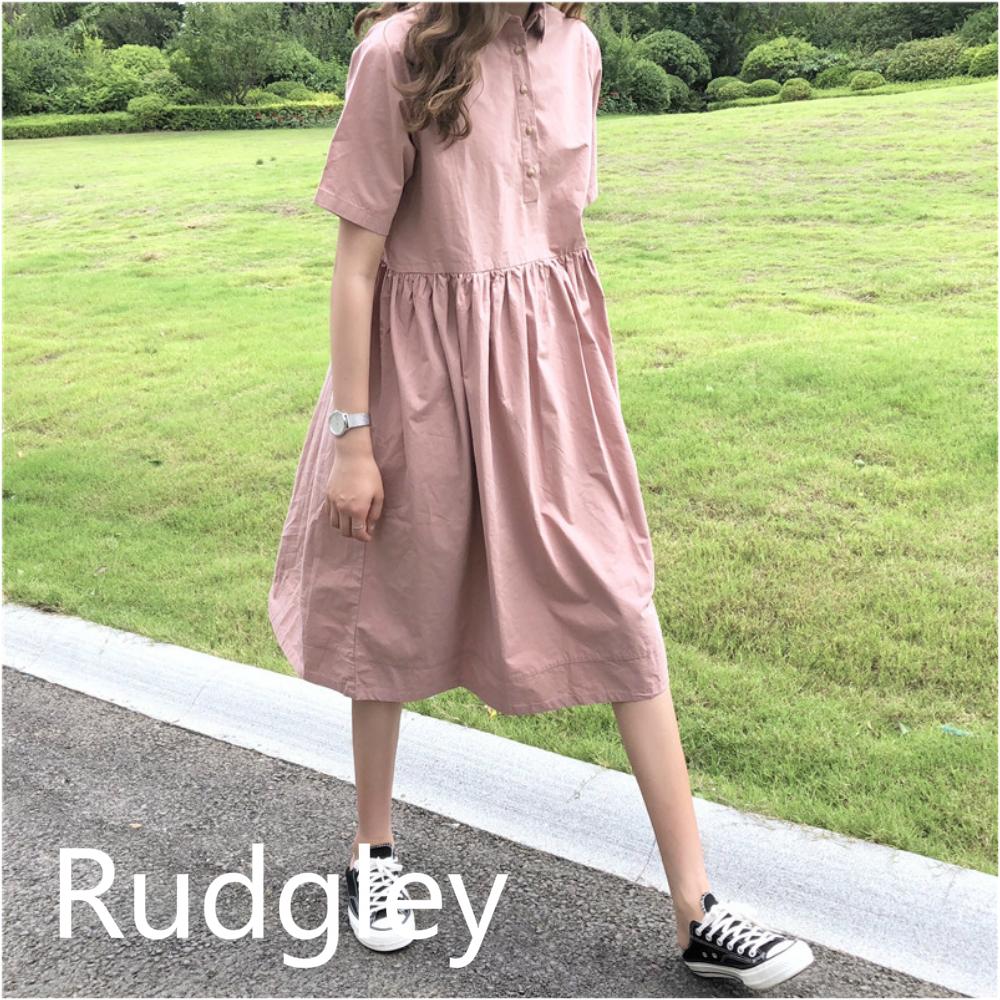 ルーズラペル 半袖 ロング レトロ ドレス