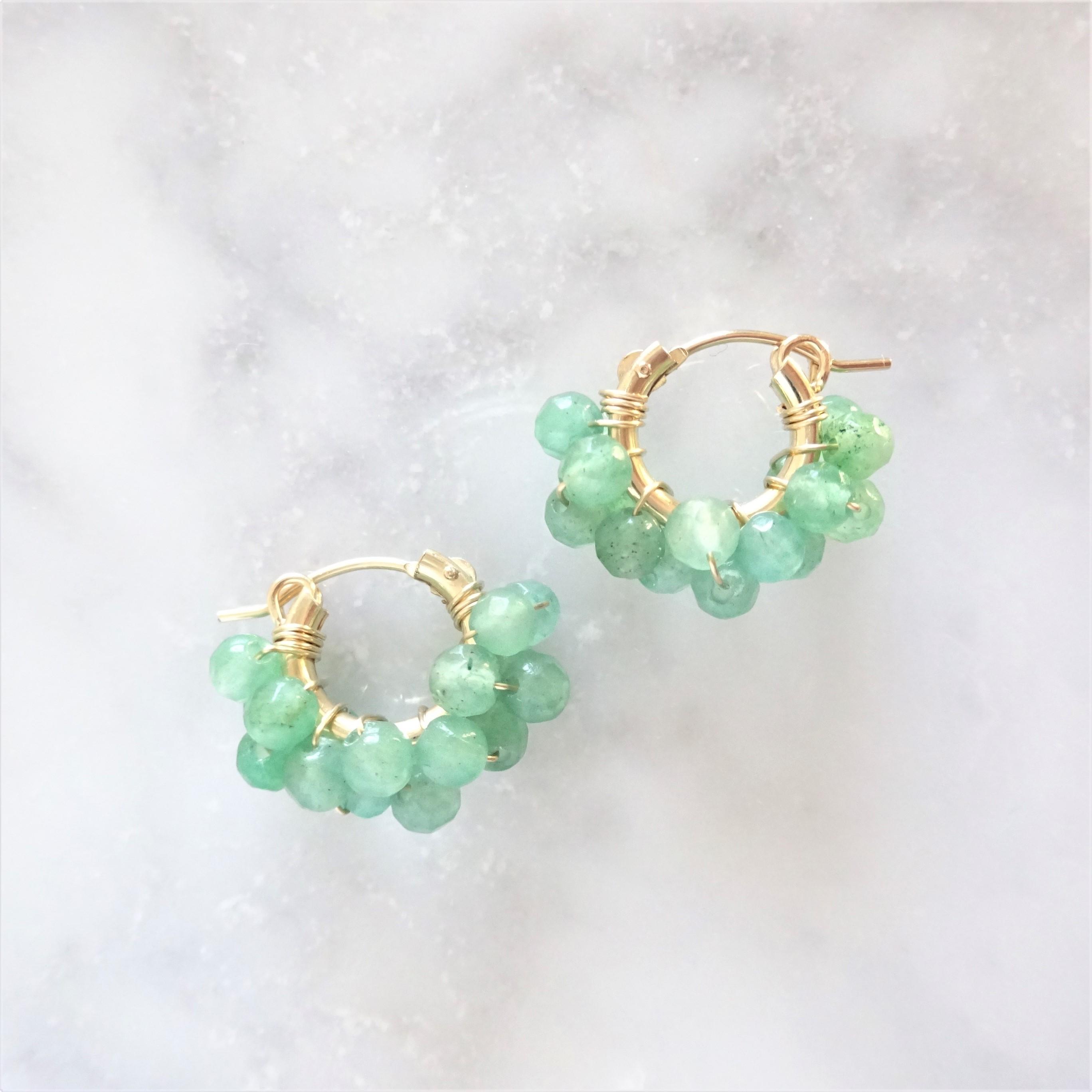 14kgf*Green Aventurine wrapped hoop pierced earring / earring